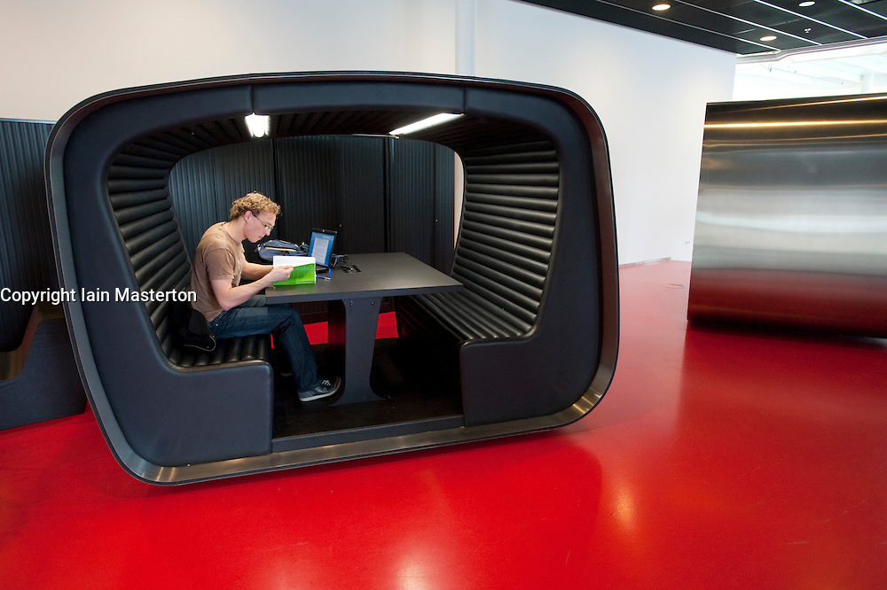 Study pods inside  modern Dr AA Heimans van den Bergh-building at Utrecht University in The Netherlands; architect Erick van Egeraat