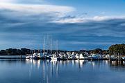 Marina boats, Rodman Crossing, Wakefield, Rhode Island, USA.