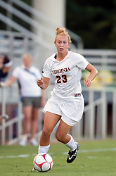Virginia Cavaliers midfielder/defender Nikki Krzysik (23) in action against Loyola.  The #6 Virginia Cavaliers defeated the Loyola College Greyhounds 4-0 in a NCAA Women's Soccer game held at Klockner Stadium on the Grounds of the University of Virginia in Charlottesville, VA on August 22, 2008.