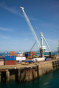Old Stothert and Pitt cranes on the dockside, St Peter Port, Guernsey, Channel Islands, UK