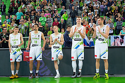 Players of Slovenia during friendly basketball match between National Teams of Slovenia and Lithuania at Day 3 of Telemach Tournament on August 23, 2014 in Arena Stozice, Ljubljana, Slovenia. Photo by Matic Klansek Velej / Sportida
