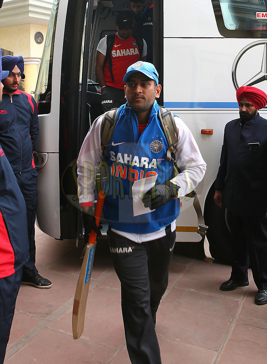 MS Dhoni of India  arrives at the ground during the 4th Airtel ODI Match between India and England held at the PCA Stadium, Mohal, India on the 23rd January 2013..Photo by Ron Gaunt/BCCI/SPORTZPICS ..Use of this image is subject to the terms and conditions as outlined by the BCCI. These terms can be found by following this link:..http://www.sportzpics.co.za/image/I0000SoRagM2cIEc