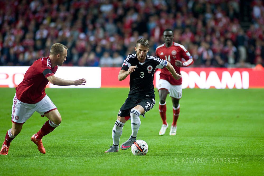 04.09.2015. Copenhagen, Denmark. <br /> Emir Lenjani in action during their UEFA European Champions qualifying round match at the Parken Stadium. <br /> Photo: © Ricardo Ramirez.