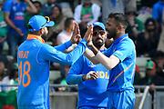 Wicket - Hardik Pandya of India celebrates taking the wicket of Shakib Al Hasan (vc) of Bangladesh during the ICC Cricket World Cup 2019 match between Bangladesh and India at Edgbaston, Birmingham, United Kingdom on 2 July 2019.