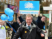 © Licensed to London News Pictures. 21/02/2013. Eastleigh, UK President of the Liberal Democrats Tim Farron runs from Conservative supporters after being surrounded whilst campaigning for the  Eastleigh by-election today 21 February 2013. Photo credit : Stephen Simpson/LNP