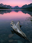 The colors of dawn are reflected in Sherburne Lake, in the Many Glacier region of Glacier National Park, Montana, USA