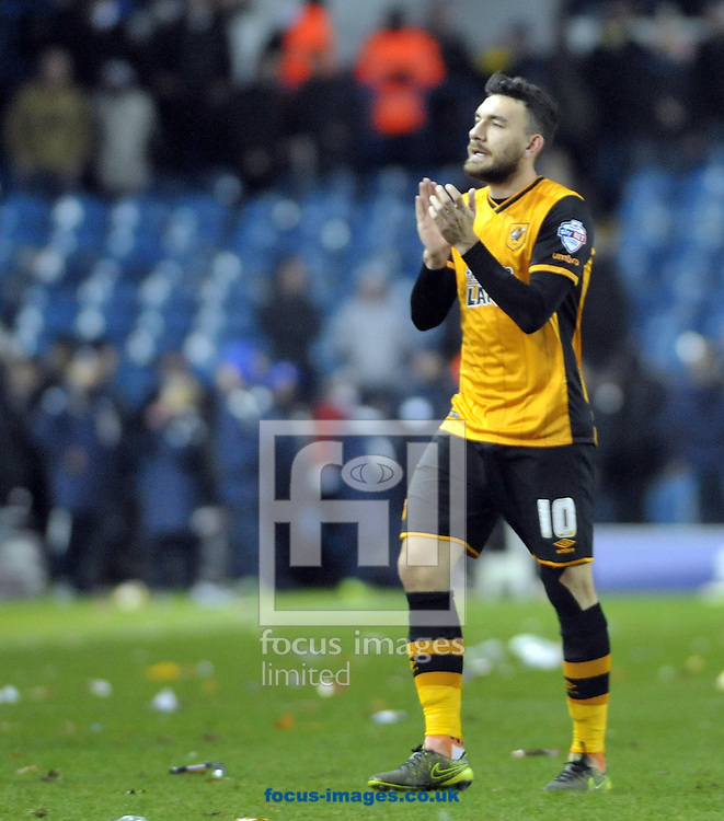 Robert Snodgrass of Hull City thanks the traveling fans after the Sky Bet Championship match at Elland Road, Leeds<br /> Picture by Graham Crowther/Focus Images Ltd +44 7763 140036<br /> 05/12/2015