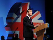 © Licensed to London News Pictures. 05/10/2011. MANCHESTER. UK. British Prime Minister David cameron delivers his end of conference speech at The Conservative Party Conference at Manchester Central today, October 5, 2011. Photo credit:  Stephen Simpson/LNP