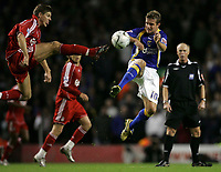 Photo: Paul Thomas.<br /> Liverpool v Cardiff City. Carling Cup. 31/10/2007.<br /> <br /> Stephen McPhail (R) of Cardiff battles for the ball from Steven Gerrard.