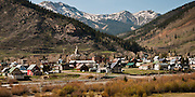 The small town of Silverton, Colorado nestled in the San Juan Mountins.