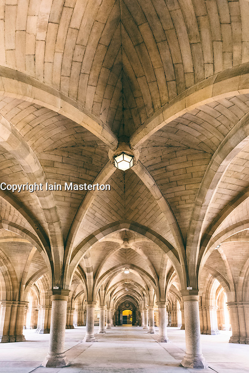 View of cloisters between the quadrangles at Glasgow University , Scotland, United Kingdom