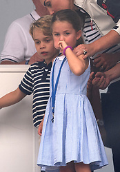 Prince George and Princess Charlotte attend the presentation following the inaugural King's Cup regatta, hosted by the Duke and Duchess of Cambridge, in Cowes, Isle of Wight on August 8, 2019.
