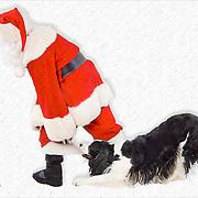 Louie and Santa.  Photo illustration.
