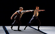 Russell Maliphant Company <br /> Conceal / Reveal <br /> at Sadler's Wells, London, Great Britain <br /> press photocall <br /> 24th November 2015 <br /> <br /> Dana Fouras <br /> Adam Kirkham <br /> <br /> <br /> <br /> Photograph by Elliott Franks <br /> Image licensed to Elliott Franks Photography Services