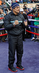 ARCADIA, CA - NOV 5: Mexican icon and three-division world champion Juan Manuel Marquez fields questions for the press during the media workout at the Santa Anita Park  Breeders' Cup Classic Day. Presented by Santa Anita Park and Top Rank. MANDATORY CREDIT:  Photo © Eduardo E. Silva