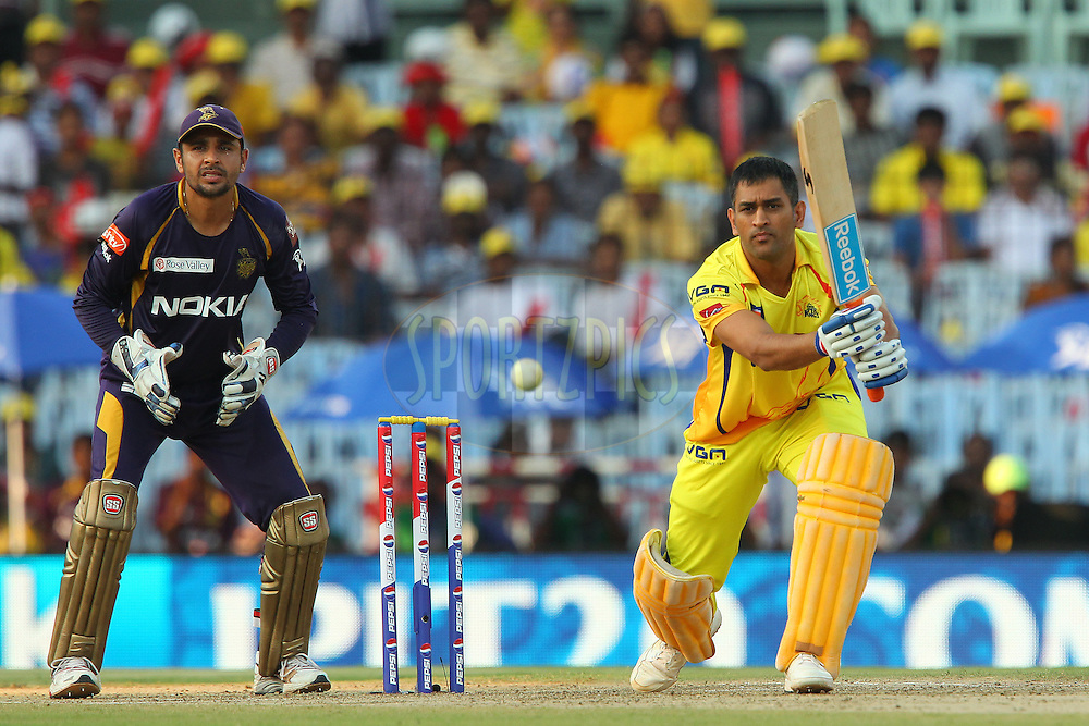 MS Dhoni during match 38 of the Pepsi Indian Premier League between The Chennai Superkings and the Kolkata Knight Riders held at the MA Chidambaram Stadiumin Chennai on the 28th April 2013..Photo by Ron Gaunt-IPL-SPORTZPICS   .. .Use of this image is subject to the terms and conditions as outlined by the BCCI. These terms can be found by following this link:..http://www.sportzpics.co.za/image/I0000SoRagM2cIEc