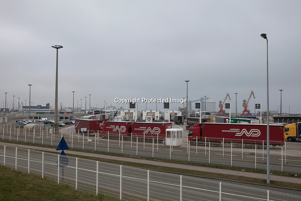 Trucks are lining up to go trough inspection in Calais, France before board the ferry to Dover, UK. <br />