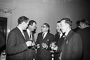 05/05/1965<br /> 05/05/1965<br /> 05 May 1965<br /> Thomas Heiton and Co. Ltd. Reception  to promote stainless steel in manufacturing at the Shelbourne Hotel, Dublin. Pictured at the reception were (l-r): Mr. William Murphy, Assistant Manager, D.E. Miller and Co. Ltd.; Mr. N. Buggy, Manager, D.E. Miller and Co. Ltd.; Mr. P.F. Powell, Representative for Thomas Heiton and Co.; Mr. G.J. Geehan, Representative for Thomas Heiton and Co. and Mr. Frank Cahill, Director J. Cahill and Son. Thomas Heiton and Co. were agents for steel produced by Samuel Fox and Co. Ltd., Sheffield, England.