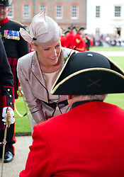 Picture shows HRH The Countess of Wessex reviewing the Founders Day Parade at The Royal Hospital Chelsea.<br /> 07/06/2012.<br /> Credit should read: L/Cpl Mark Larner RY / MOD<br /> <br /> Founder's Day is held on a day as close as possible to the 29th May every year. This is the birthday of Charles II as well as the date of his restoration as King in May 1660. It is also known as Oak Apple Day as it commemorates the escape of the future King Charles after the Battle of Worcester (1651) when he hid in an oak tree to avoid capture by the Parliamentary forces.<br /> <br /> The Chelsea Pensioners are usually reviewed by a member of the Royal Family - this year HRH The Countess of Wessex. During the course of this celebratory day the statue of Charles II in Figure Court is partly shrouded in oak leaves, and all participants in the Parade and spectators wear sprigs of oak leaves to commemorate the King's escape from forces after the Battle of Worcester in 1651.