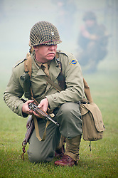 Reenactor portraying a US ranger during a battle reenactment at Fort Paull Monday.7 May 2012.Image © Paul David Drabble
