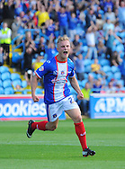 Kyle Dempsey of Carlisle United celebrates scoring from a header his team's first goal during the Sky Bet League 2 match at Brunton Park, Carlisle<br /> Picture by Greg Kwasnik/Focus Images Ltd +44 7902 021456<br /> 06/09/2014