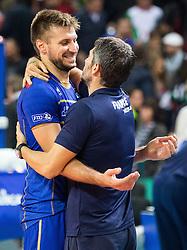 17-10-2015 BUL: Volleyball European Championship Frankrijk - Bulgarije, Sofia<br /> Semifinal in Arena Armeec Sofia / Antonin Rouzier #4 of France celebrate <br /> Photo: Vid Ponikvar / RHF<br /> +++USE NETHERLANDS ONLY+++