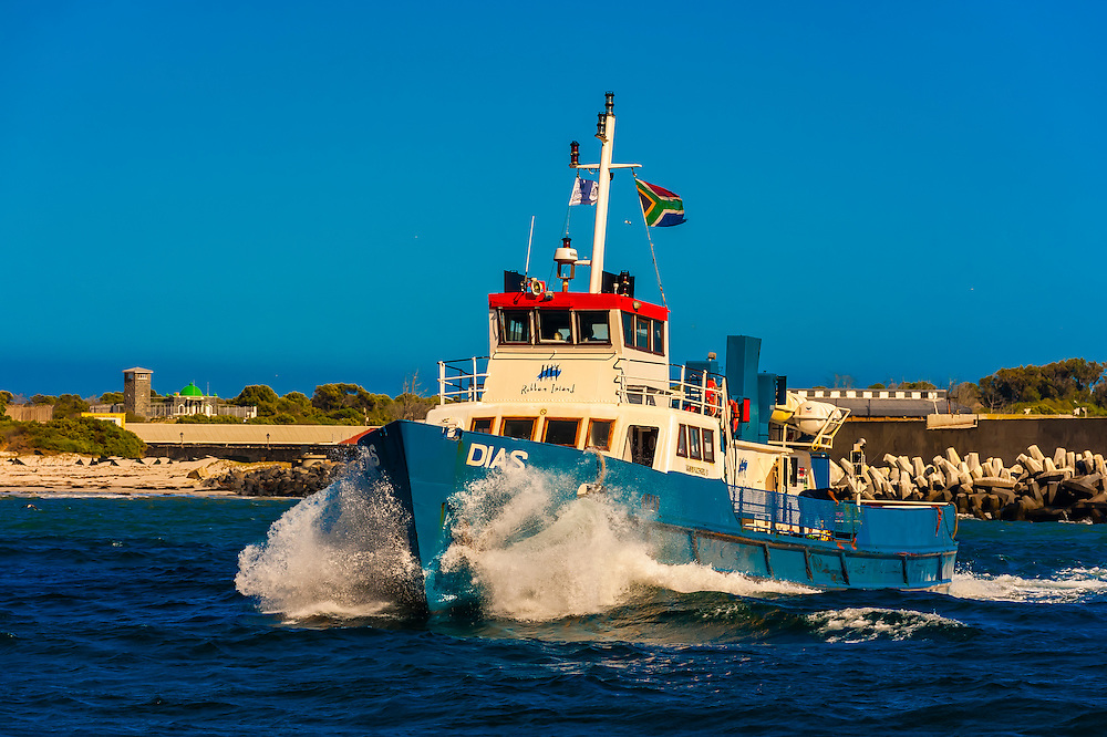 Boat that was used to ferry prisoners to Robben Island (now brings tourists to the island, which is now a museum), in Table Bay, Cape Town, South Africa.