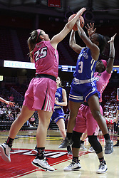 NORMAL, IL - February 10: Lexi Wallen hacks Ashli O'Neal as she shoots during a college women's basketball Play4Kay game between the ISU Redbirds and the Indiana State Sycamores on February 10 2019 at Redbird Arena in Normal, IL. (Photo by Alan Look)