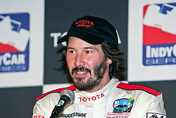 LONG BEACH, CA - APR 18: Actor Keanu Reeves shares his great experience of the Toyota Pro/Celebrity Race 2009 during the 35th Toyota Grand Prix of Long Beach 2009. Keanu won in the Celebrity category. Press Media conference April 18, 2009 Photo by Eduardo E. Silva