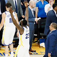 OAKLAND, CA - MAY 31: Draymond Green #23 of the Golden State Warriors reacts in Game One of the 2018 NBA Finals won 124-114 in OT by the Golden State Warriors over the Cleveland Cavaliers at the Oracle Arena on May 31, 2018 in Oakland, California. NOTE TO USER: User expressly acknowledges and agrees that, by downloading and or using this photograph, User is consenting to the terms and conditions of the Getty Images License Agreement. Mandatory Copyright Notice: Copyright 2018 NBAE (Photo by Chris Elise/NBAE via Getty Images)