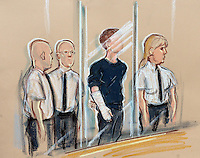 Leeds School Corpus Christi stabbing death story. Drawing by Priscilla Coleman. Court artist sketch of suspect in Leeds youth court with bandaged arm, charged with the murder of teacher Ann Maguire.