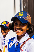 Parade of female students, Kandy, Central Province, Sri Lanka.