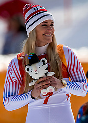 PYEONGCHANG-GUN, SOUTH KOREA - FEBRUARY 21:  Lindsey Vonn of the United States celebrates during the Ladies' Downhill on day 12 of the PyeongChang 2018 Winter Olympic Games at Jeongseon Alpine Centre on February 21, 2018 in Pyeongchang-gun, South Korea. Photo by Ronald Hoogendoorn / Sportida