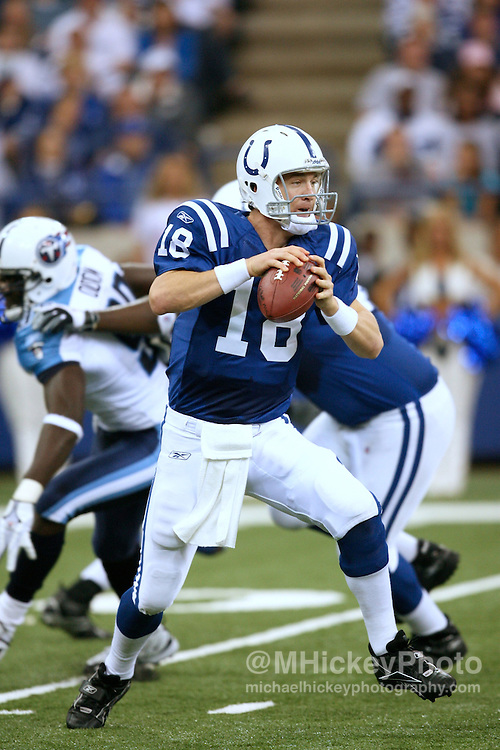 WireImage #10865558--Indianapolis Colts quarterback Peyton Manning seen during action against Tennessee at the RCA Dome in Indianapolis, Indiana on October 8, 2006.