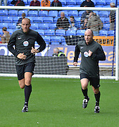 Scott Duncan and Ollie Yates warms up  before the Sky Bet Championship match between Bolton Wanderers and Wolverhampton Wanderers at the Macron Stadium, Bolton, England on 12 September 2015. Photo by Mark Pollitt.