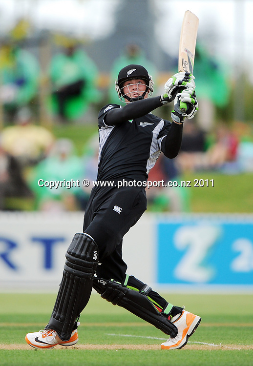 Martin Guptill during the 2nd ODI cricket match between New Zealand and Zimbabwe at Cobham Oval in Whangarei, Monday 6 February 2012. Napier, New Zealand. Photo: Andrew Cornaga/Photosport.co.nz