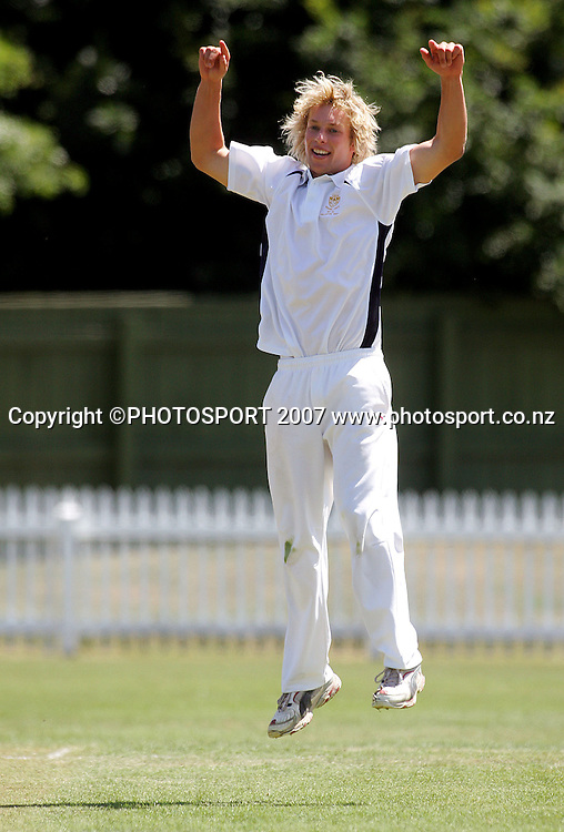 CBHS captain Sam Noster celebrates taking a wicket.<br /> Gillette Cup Cricket. Fitzherbert Park, Palmerston North. Sunday 16 December 2007. Photo: Dave Lintott/PHOTOSPORT