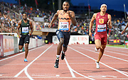 Noah Lyles (USA), center, defeats Michael Norman of Southern California (USA) to win the 200m, 19.69 to 19.88 during the 2018 Athletissima in an IAAF Diamond League meeting at Stade Olympique de la Pontaise in Lausanne, Switzerland on Thursday, July 5, 2018. (Jiro Mochizuki/Image of Sport)