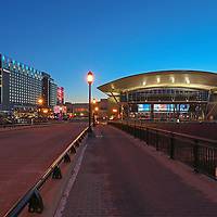Boston landmark photo showing the modern architecture of the Boston Convention and Exhibition Center and the waterfront Westin Hotel, photographed on a stunning night at twilight. The BCEC is one of the largest convention and exhibition centers in the Northeast and the Westin Hotel is right next door, providing easy access to any exhibitions at the convention center and to downtown Boston. This Boston Westin Hotel and the BCEC photography images are available as museum quality photography prints, canvas prints, acrylic prints or metal prints. Fine art prints may be framed and matted to the individual liking and decorating needs: <br /> <br /> http://juergen-roth.pixels.com/featured/boston-waterfront-westin-hotel-juergen-roth.html<br /> <br /> All Boston photographs are available for digital and print image licensing at www.RothGalleries.com. Please contact me direct with any questions or request.<br /> <br /> Good light and happy photo making!<br /> <br /> My best,<br /> <br /> Juergen<br /> Prints: http://www.rothgalleries.com<br /> Photo Blog: http://whereintheworldisjuergen.blogspot.com<br /> Twitter: @NatureFineArt<br /> Instagram: https://www.instagram.com/rothgalleries<br /> Facebook: https://www.facebook.com/naturefineart