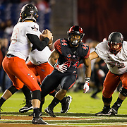 10 November 2018: San Diego State Aztecs linebacker Kyahva Tezino (44) rushes the quarterback in the first  quarter. The Aztecs lost 27-24 to UNLV Saturday night at SDCCU Stadium falling a game behind Fresno State in the conference standings.