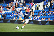 Kemar Roofe of Leeds United warms up before the EFL Sky Bet Championship match between Cardiff City and Leeds United at the Cardiff City Stadium, Cardiff, Wales on 17 September 2016. Photo by Andrew Lewis.