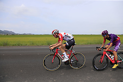 2 man breakaway with Jelle Wallays (BEL) Lotto-Soudal and Jorge Cubero Galvez (ESP) Burgos-BH forms just after Km0 the start of Stage 4 of La Vuelta 2019 running 175.5km from Cullera to El Puig, Spain. 27th August 2019.<br /> Picture: Eoin Clarke | Cyclefile<br /> <br /> All photos usage must carry mandatory copyright credit (© Cyclefile | Eoin Clarke)