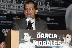 Aug 30, 2012; Brooklyn, NY, USA; Head of Showtime Sports Stephen Espinoza speaks at the press conference at New York Marriott at the Brooklyn Bridge. The press conference announced the upcoming October 20th card at the Barclay's Center.