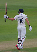 Scott Borthwick (Durham County Cricket Club) celebrates after scoring 50 runs during the LV County Championship Div 1 match between Durham County Cricket Club and Warwickshire County Cricket Club at the Emirates Durham ICG Ground, Chester-le-Street, United Kingdom on 12 July 2015. Photo by George Ledger.