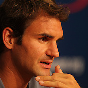 Roger Federer, Switzerland, during a press conference at the US Open. Flushing. New York, USA. 24th August 2013. Photo Tim Clayton
