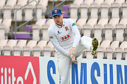 Sam Cook of Essex climbing over the boundary fence before the second day of play in the Specsavers County Champ Div 1 match between Hampshire County Cricket Club and Essex County Cricket Club at the Ageas Bowl, Southampton, United Kingdom on 28 April 2018. Picture by Graham Hunt.