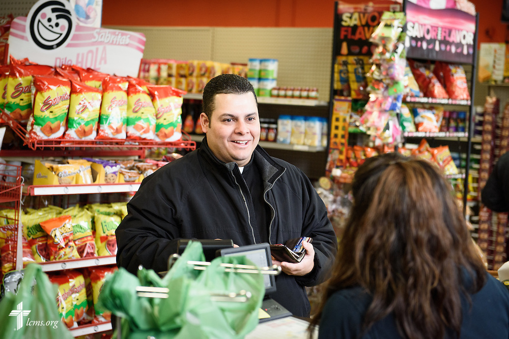 Vicar David Blas, missionary-at-large at LCMS Sheboygan County Hispanic Outreach and St. John's Lutheran Church of Plymouth, Wis., visits La Conquistadora, a Mexican grocery store on Thursday, Jan. 28, 2016, in Sheboygan, Wis. Blas handed out Portals of Prayer books and dropped off Bibles. LCMS Communications/Erik M. Lunsford