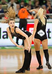 Cheerleader Dragon Ladies - Zmajcice during basketball match between KK Union Olimpija and Mapooro Cantu (ITA) in 6th Round of Regular season of Euroleague 2012/13 on November 15, 2012 in Arena Stozice, Ljubljana, Slovenia. (Photo By Matic Klansek Velej / Sportida)