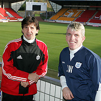 Former St Johnstone star Nick Dasovic pictured at McDiarmid Park with Jim Weir.  Nick now coaching with the Canadian national football team is staying with his old friend Jim Weir for a few days joining in with St Johnstone training before watching the Dundee v St Johnstone game on Saturday where he will meet up with a few more former St Johnstone pals in Alan Kernaghan and Billy Kirkwood, before heading back to Vancouver early next week.<br />