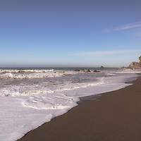 Black sand and big waves at Wilson Creek Beach, Redwoods National Park